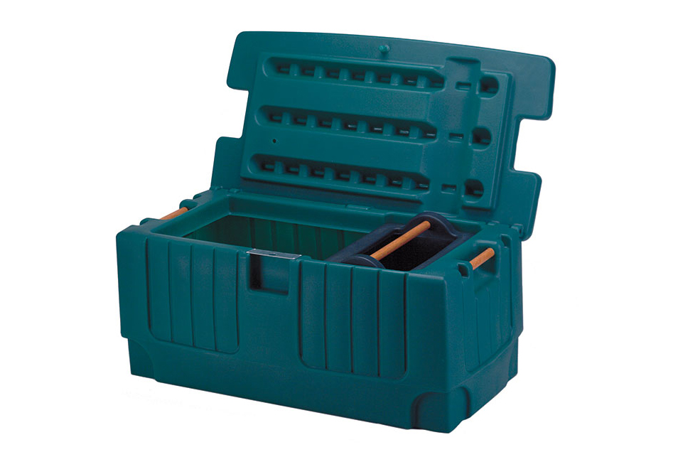 Rotomolded plastic case and lid.