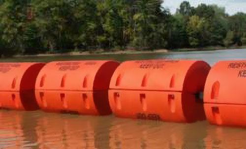 Flotation buoys made of rotational molded plastic.