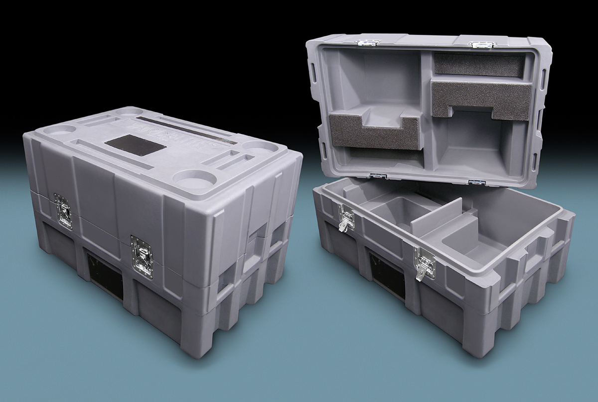 Rotational molded plastic grey case units