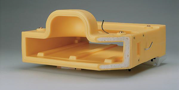 Cutaway example showing plastic foam filled part.