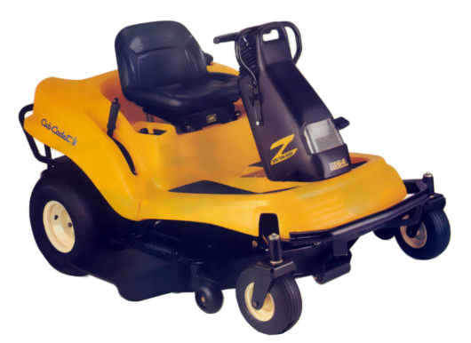 Yellow riding lawn mower with rotational molded parts.