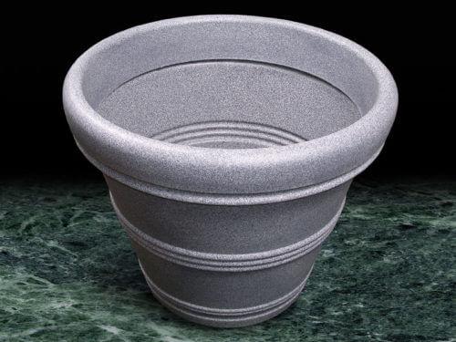Large grey rotomolded garden plat pot.