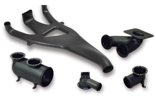 Black molded plastic air duct system for trucks.