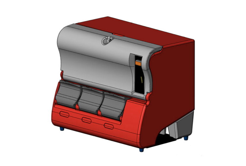 Design drawing of a red dispenser unit to be rotomolded.