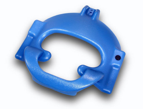 Blue rotomolded plastic part used for surgical product.