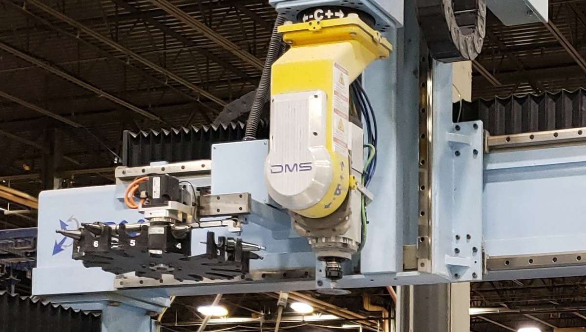 CNC machine in rotational molding facility.