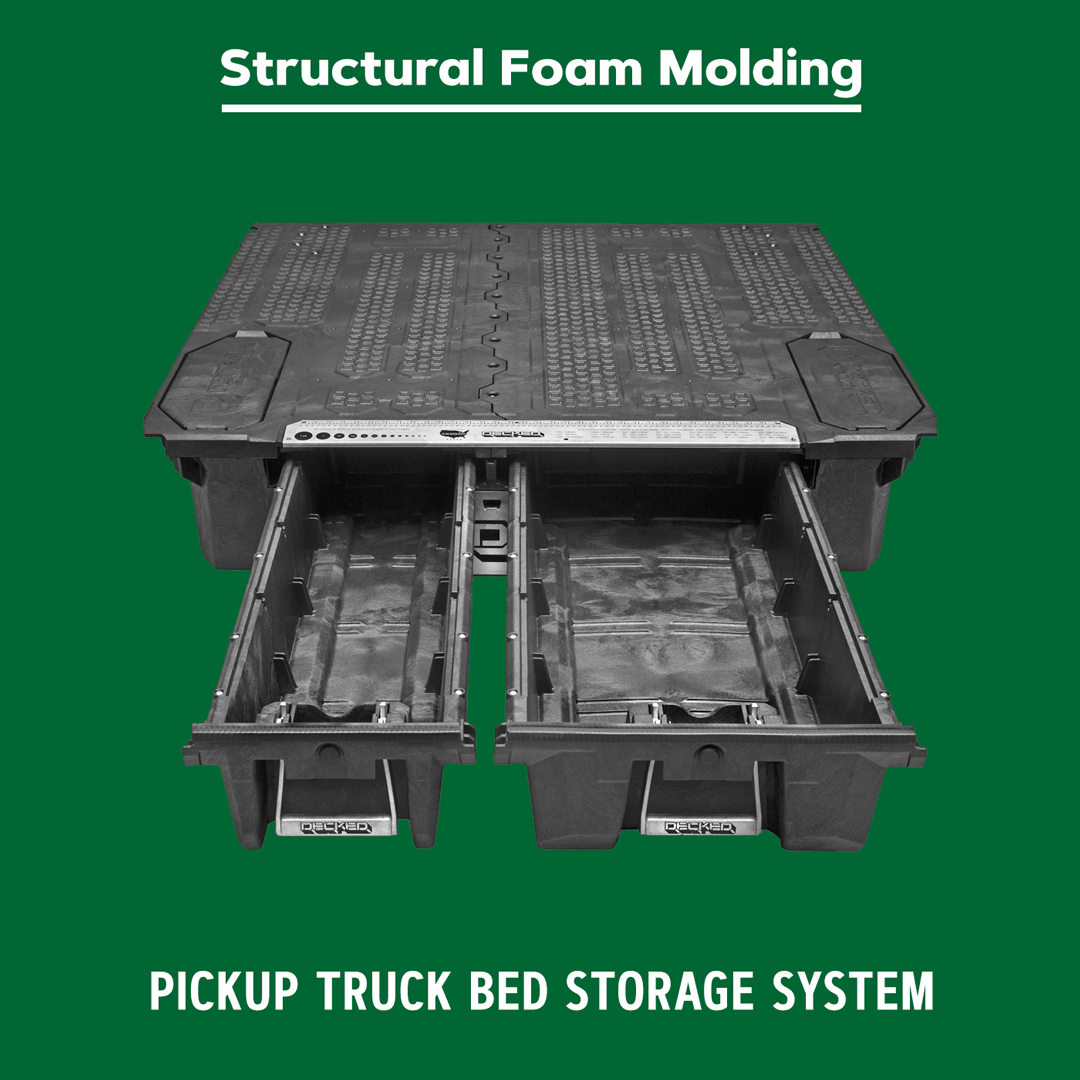 Structural foam molded truck bed storage system.