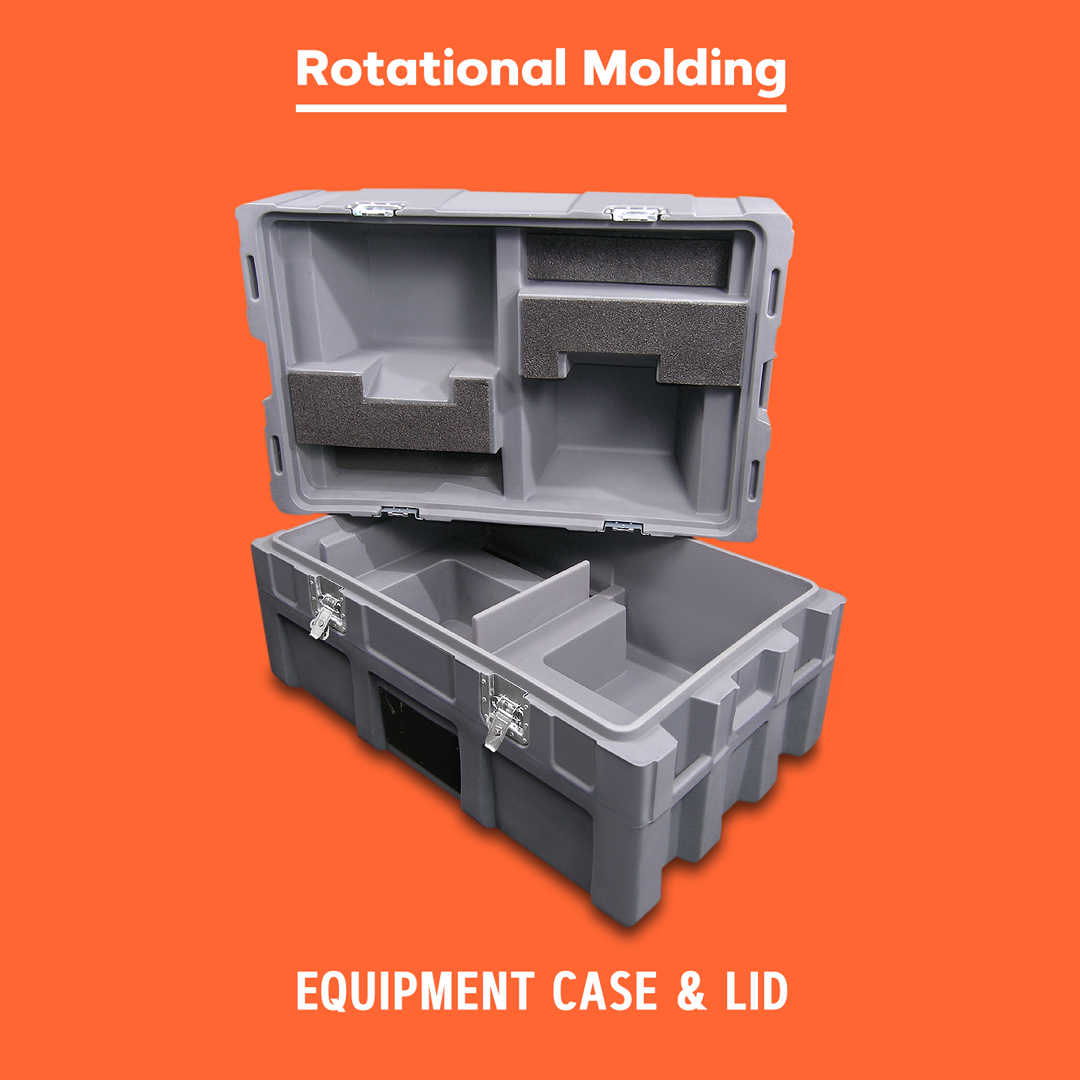 Rotational molded equipment case and lid.