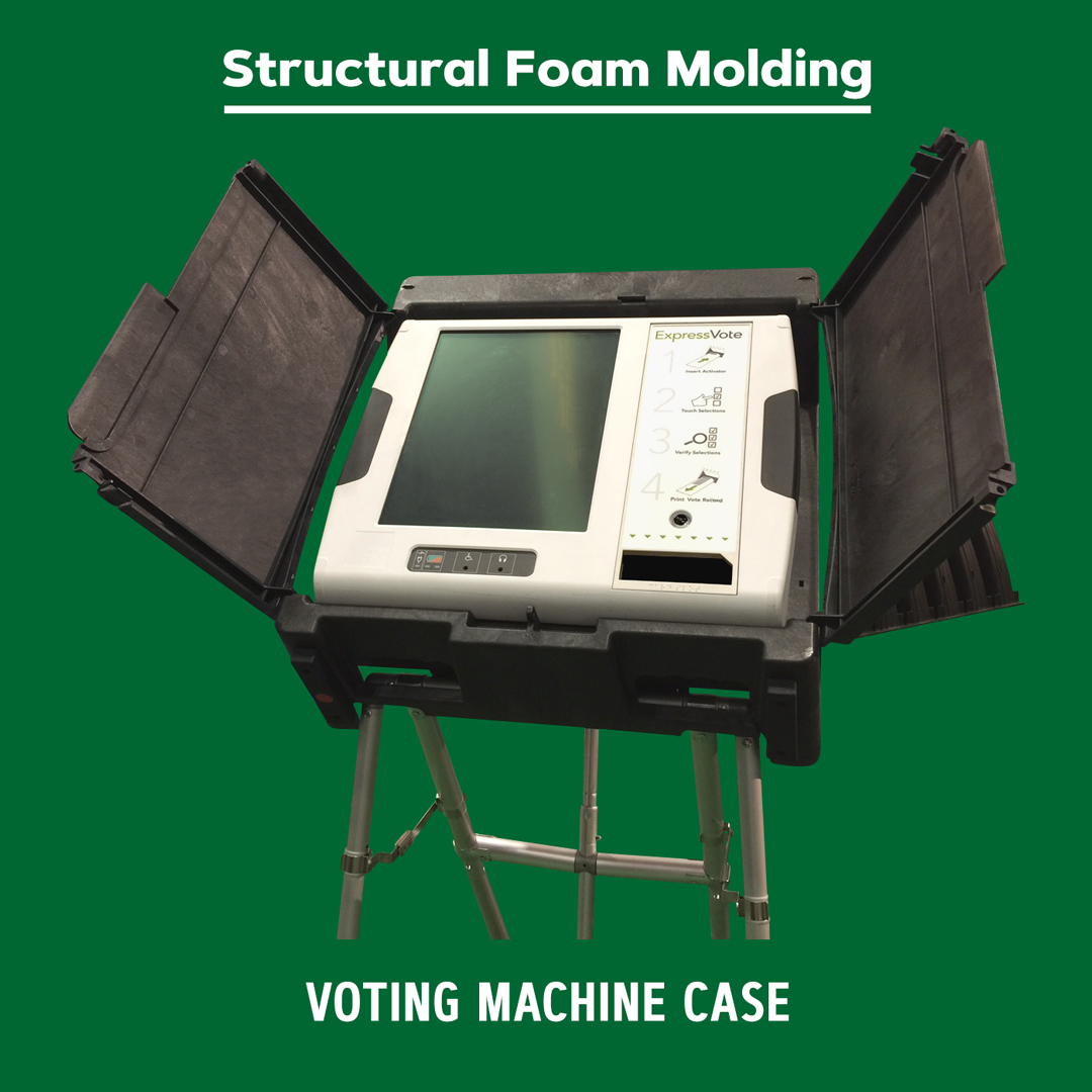 Structural foam molded voting machine case.