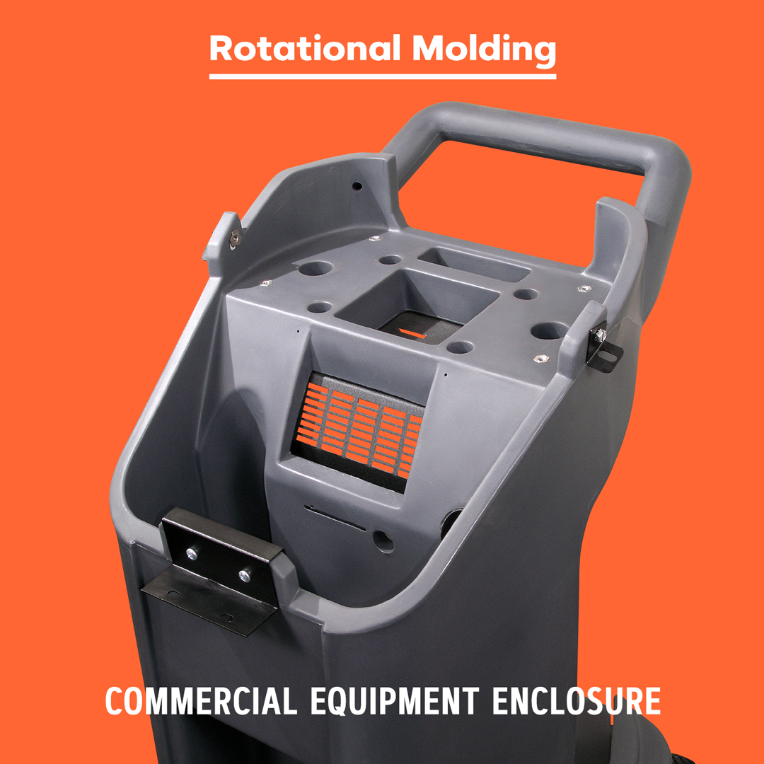 Rotational molded commercial equipment case.